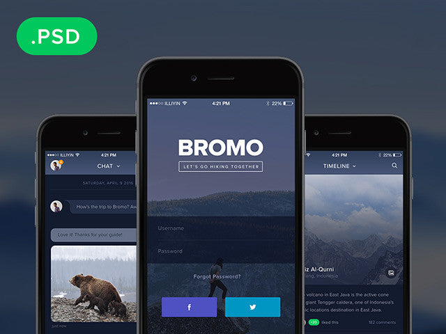 Bromo: Social mobile app template - Design Resources