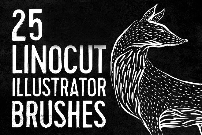 25 Linocut & Woodcut Brushes for Adobe Illustrator - Design Resources