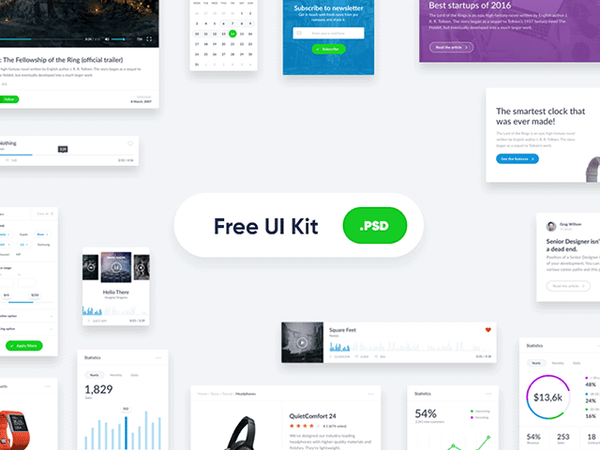 Basic widget-style UI kit for websites - Design Resources