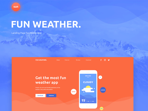 Fun Weather: A landing page template for your apps - Design Resources