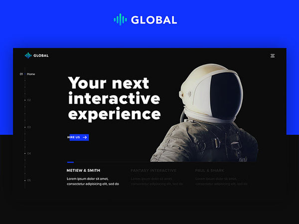 Global: A futuristic one page portfolio in PSD and HTML - Design Resources