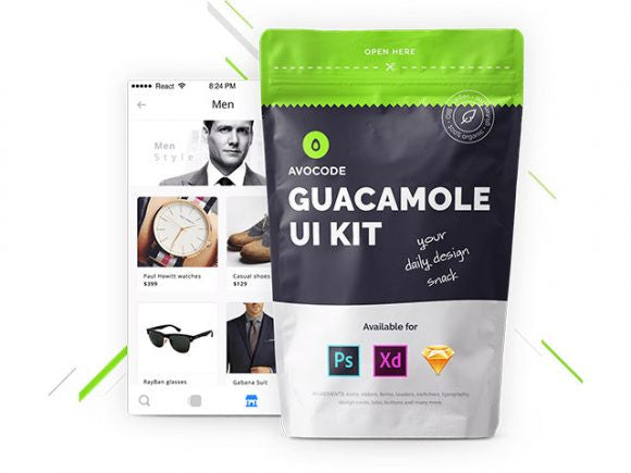 Guacamole: Free UI kit for Photoshop, Xd & Sketch - Design Resources