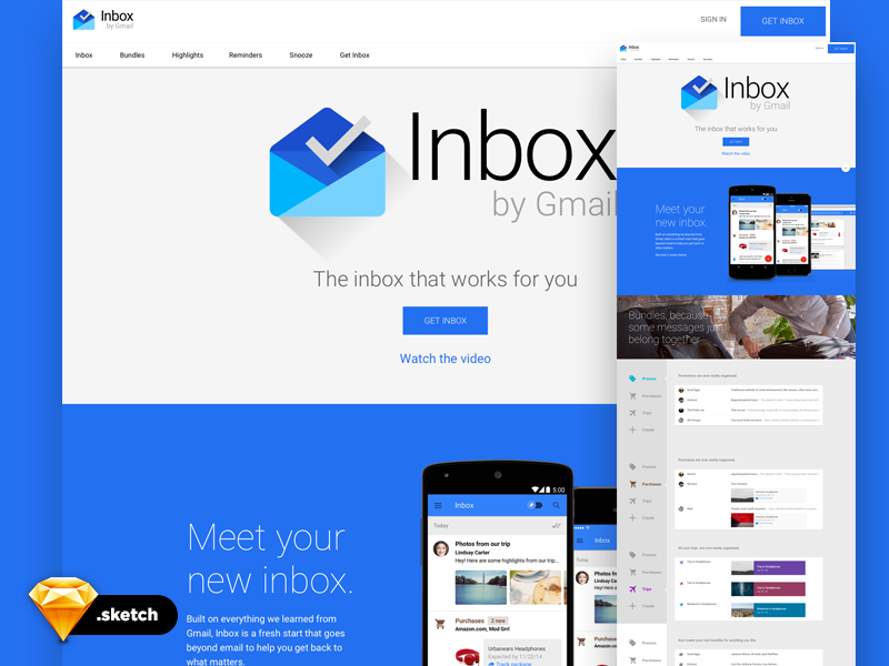 Google Inbox UI - sketch template - Design Resources