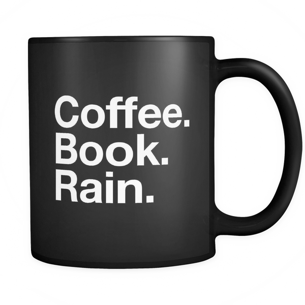Coffee. Book. Rain mug