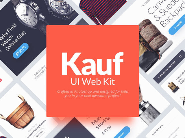 Kauf: Free web UI kit for Photoshop - Design Resources