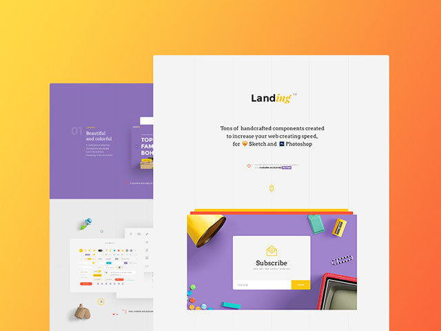 Landing: UI kit for Sketch and Photoshop - Design Resources