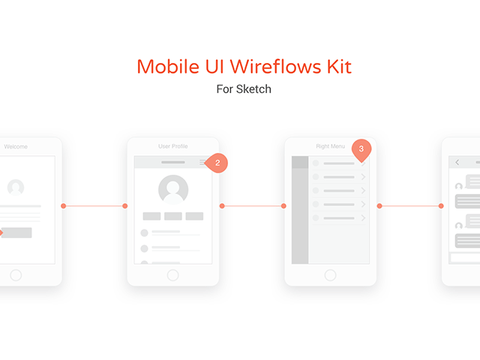Mobile UI wireflow kit for Sketch - Design Resources