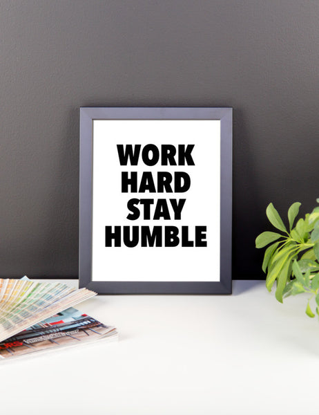 Work hard framed poster - desket. - 2
