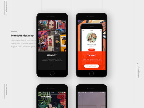 Monet: Free PSD Mobile UI kit - Design Resources