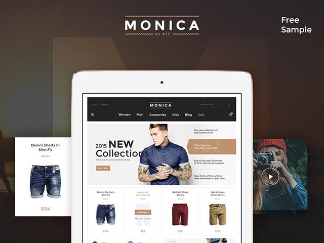 Monica – Free PSD UI kit for ecommerce - Design Resources