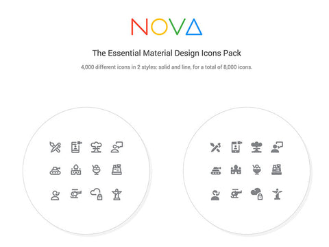 350 Free Material Design icons from Nova pack - Design Resources