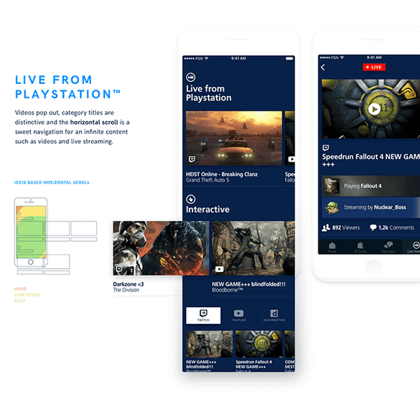 Playstation app redesign – Sketch UI kit - Design Resources
