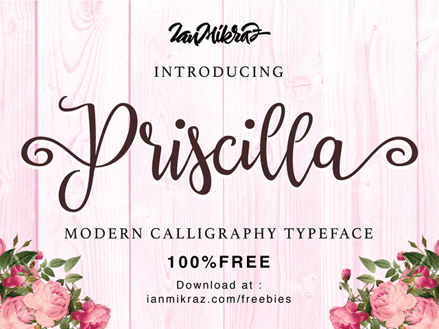 Priscilla: A calligraphic font - Design Resources