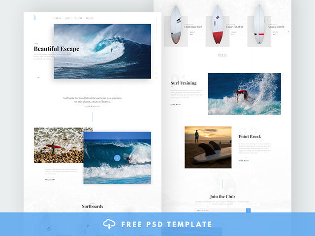 Blog and e-commerce PSD template for surfers - Design Resources