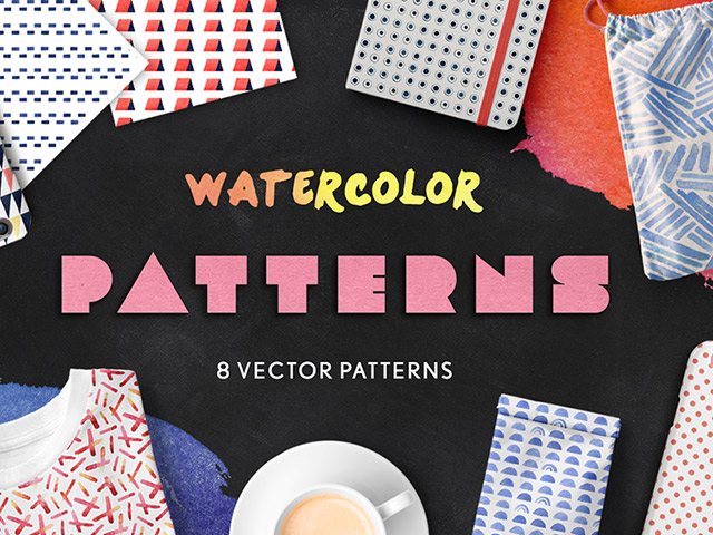 Watercolor Seamless Patterns - desket. - 1