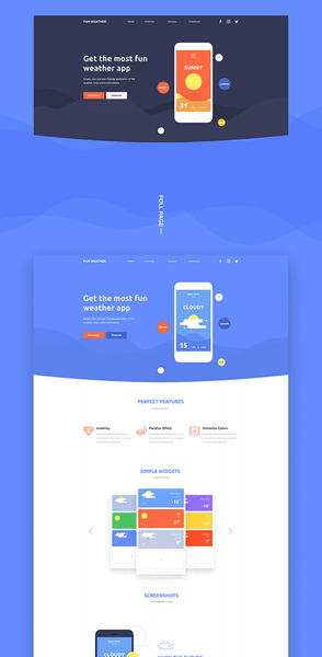 Fun Weather: A landing page template for your apps