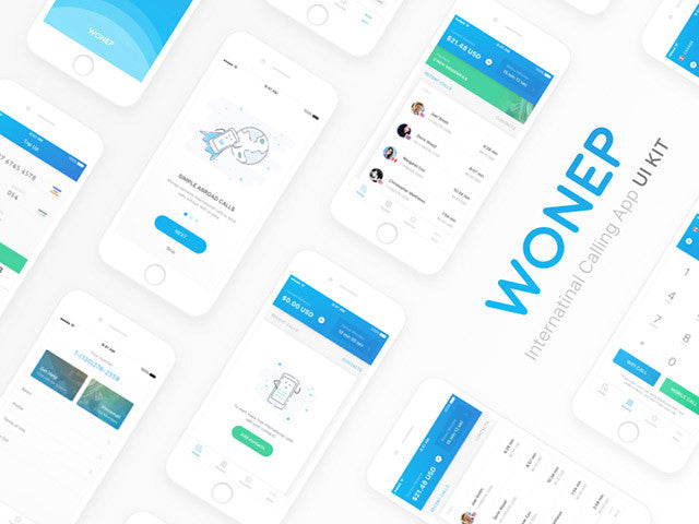 Wonep: Free Sketch UI kit for calling apps