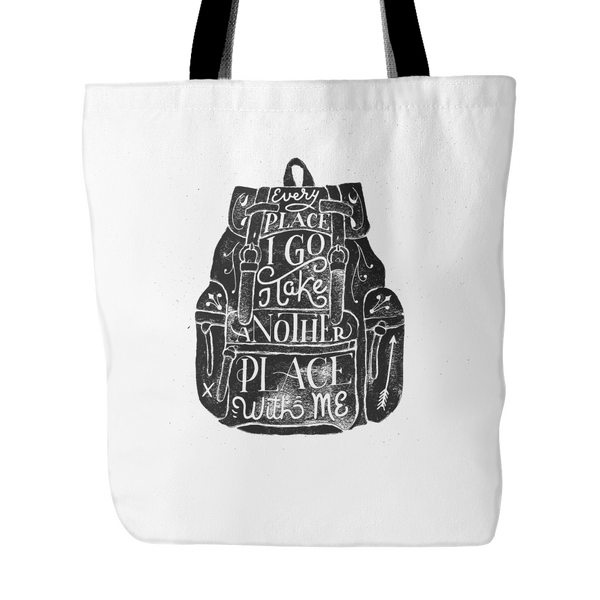 Every place I go I take another place with me tote bag - Design Resources