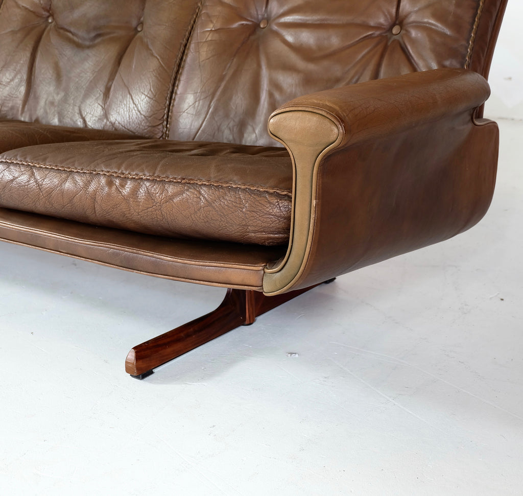 Sigurd Ressel for Vatne Møbler Three Seater Sofa in Brown Leather (1802424)