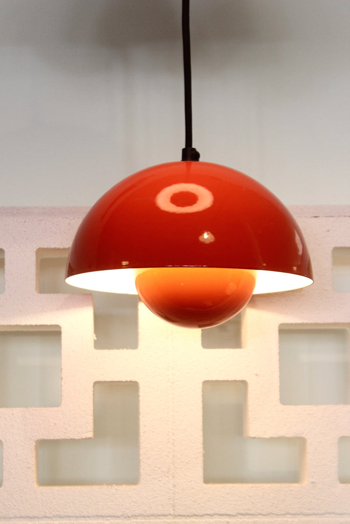 Pair of Verner Panton Flowerpot Pendants in Red (1802710)