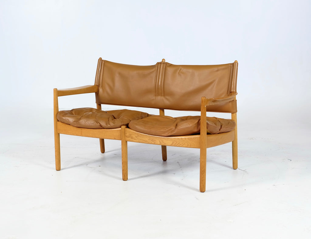Illum Wikkelsø Two Seat Sofa in Oak and Leather (1902717)