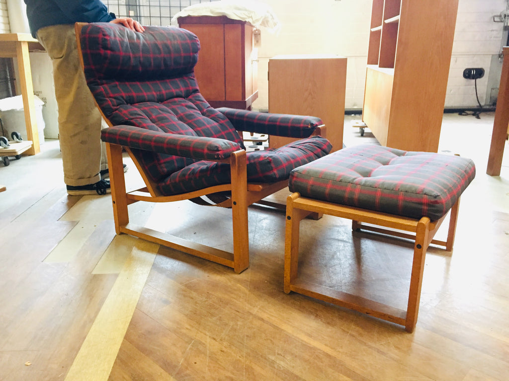Danish Recliner Lounge Chair & Footstool (2002043)