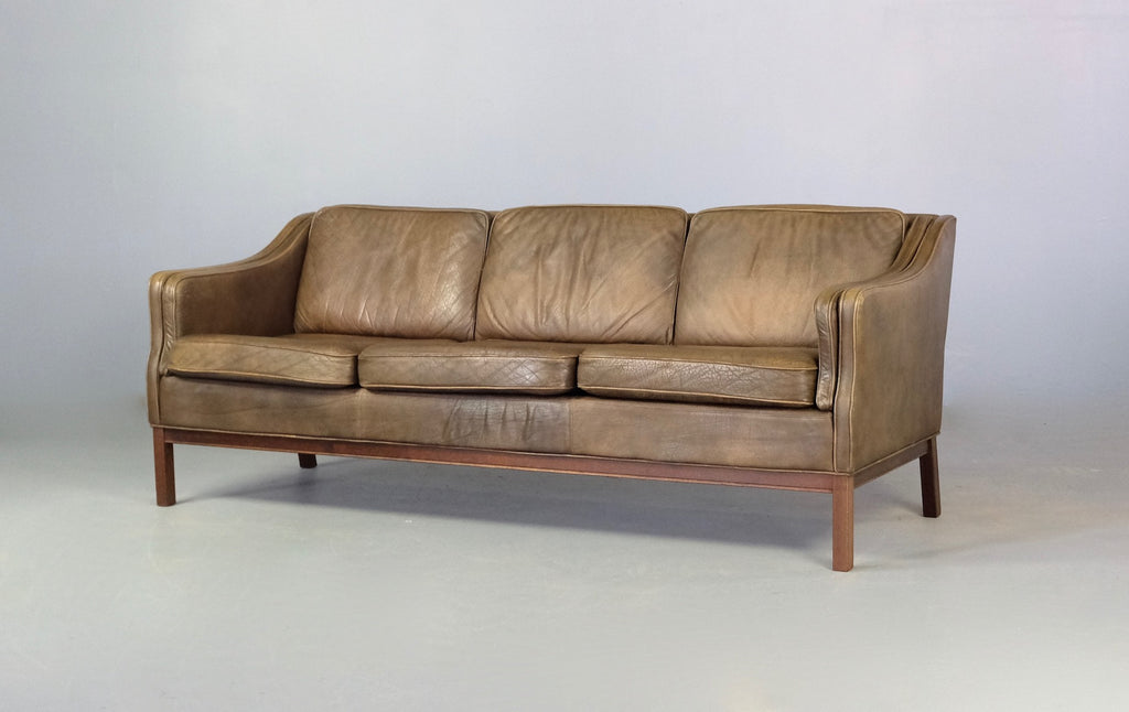 Danish Three Seater Sofa in Green / Brown Leather (2004944)