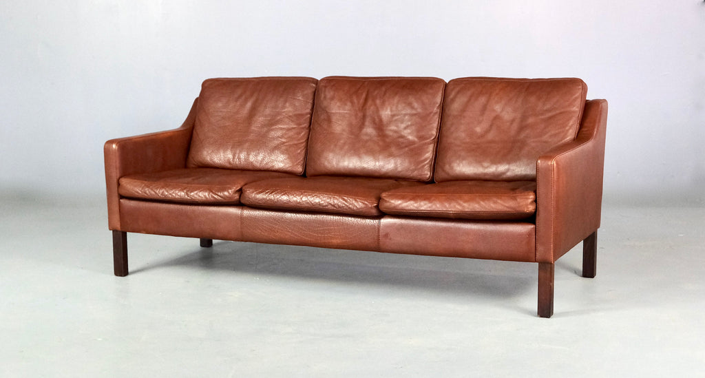 Danish Three Seater Sofa in Brown Leather (2004996)