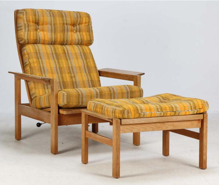 Danish Recliner Lounge Chair & Footstool (2004FJ007)