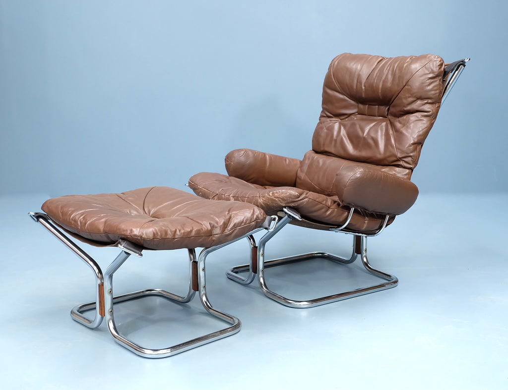 Ingmar Relling Lounge Chair & Footstool in Brown Leather (2004FJ029)