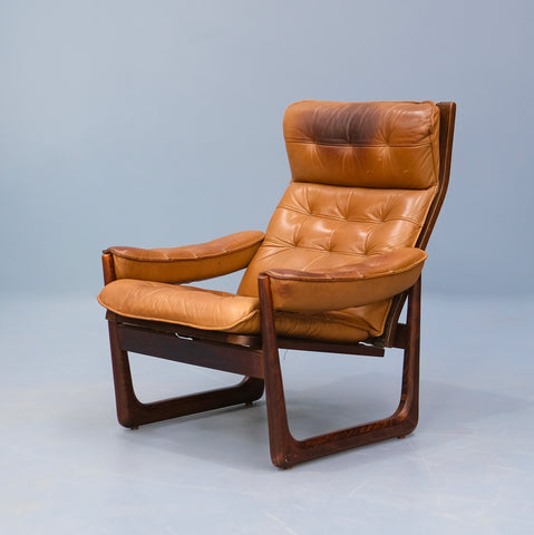 Danish Recliner Lounge Chair in Tan Leather (2102963)