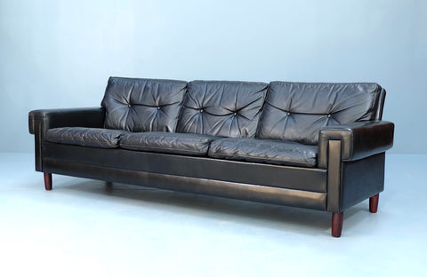 Danish Sofa in Black Leather (2102906)