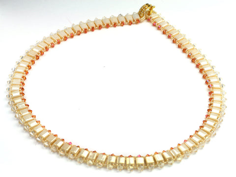 Vanilla Cream: bead woven necklace