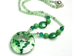Chloe: Murano silvery green pendant necklace