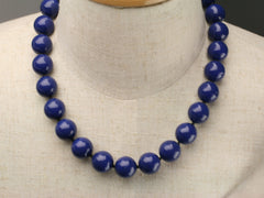 Swarovski large pearl knotted necklace: Dark Lapis