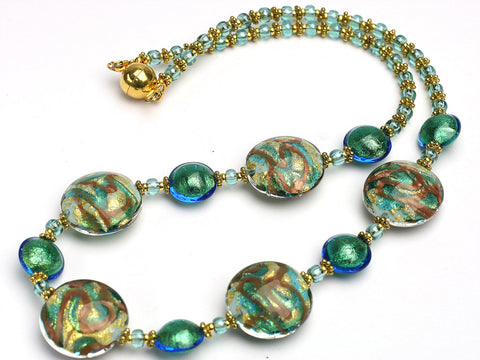 Sunlit Waterfall Murano glass necklace
