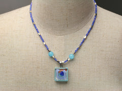 Aqua Pools: Murano glass pendant necklace