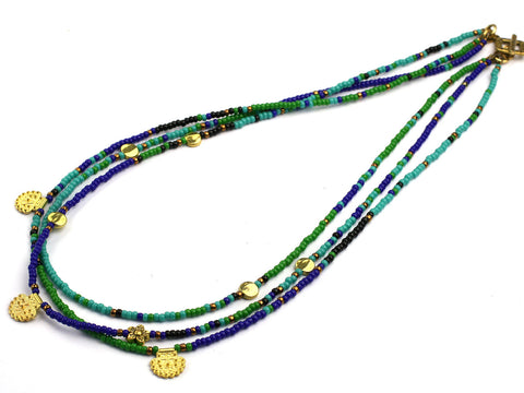 Aoi: green and blue multistrand seed bead necklace