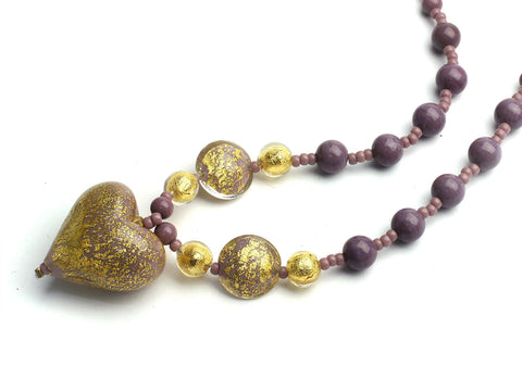 Bravo: Purple and Gold Heart Murano necklace