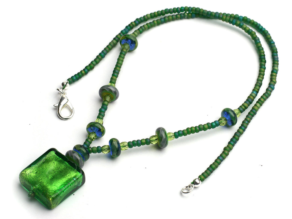 Verdant: Green murano pendant necklace