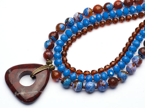 Deep Water: triple strand agate necklace