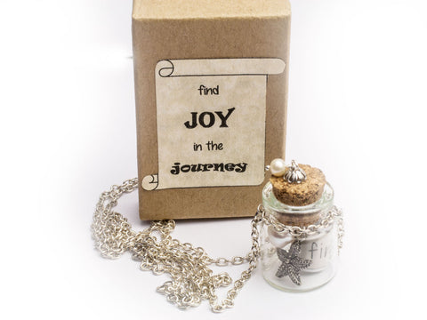 Joy in the Journey message necklace