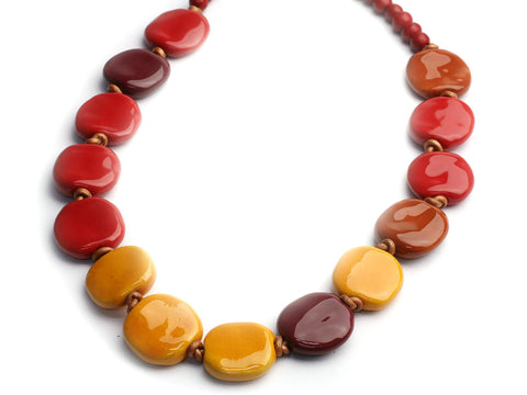 Glorious sunset: a Kazuri bead necklace