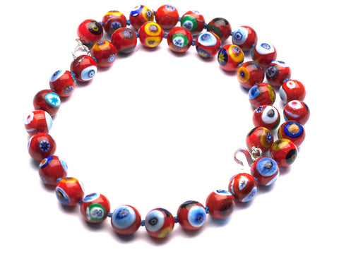 Joyous: Murano multicloured millifiori glass necklace