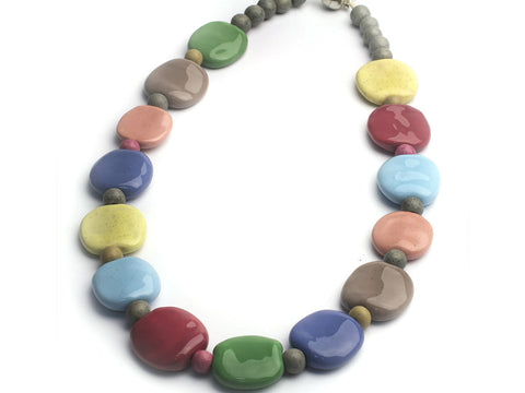 Earthy in Springtime:  Kazuri bead necklace