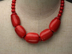 Roma: Red Tagua Nut chunky necklace