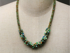 Seaside Sparkle: kumihimo necklace