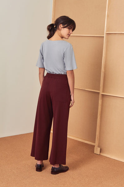 Building Block Wide Leg Pant - Wine