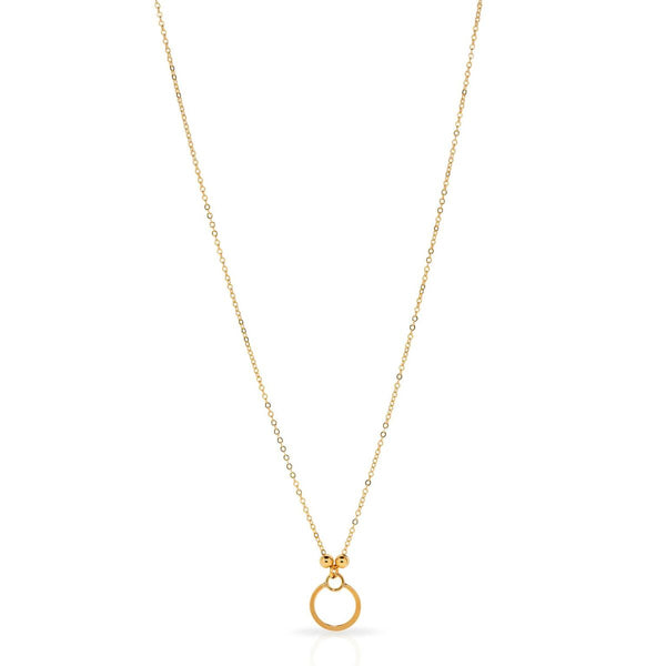Petite Grand Gold Double Circle Necklace