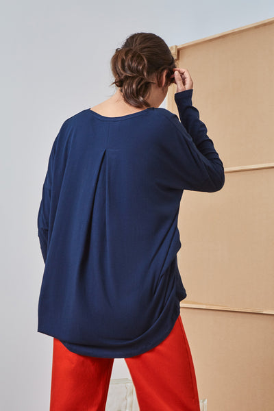 Building Block Drape Top - Navy